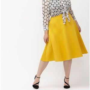 Mustard Ponte Knit Midi Circle Skirt